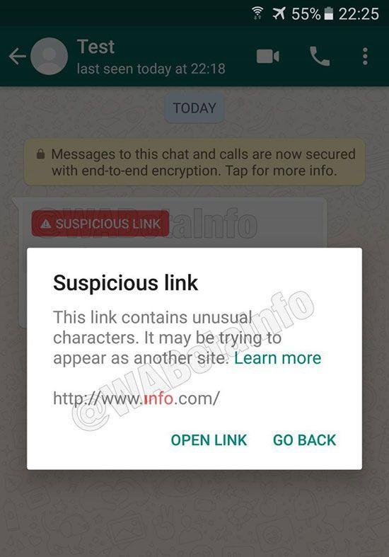 whatsapp detect suspicious links