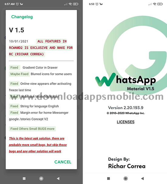 image with the latest news of WhatsApp Material D2 v1.5