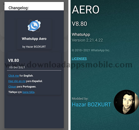 image with the latest WhatsApp Aero 8.80