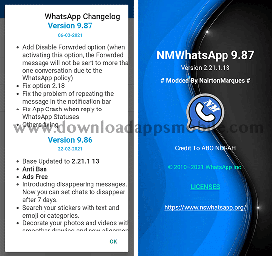 news latest version 9.87 of NM WhatsApp 2021