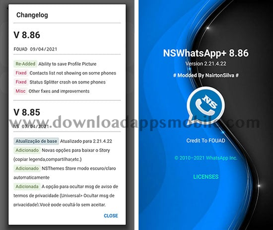 image with the latest updates of NSWhatsApp 8.86